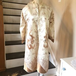 Vintage 1930s 1940s Embroidered Chinese Silk Robe